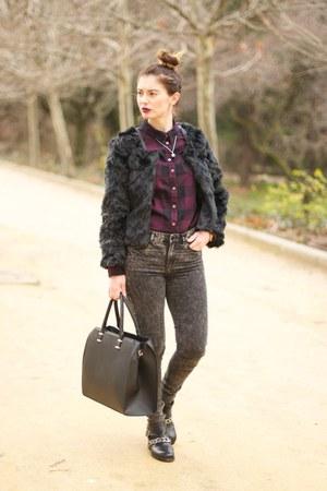 black Zara boots - black H&M jeans