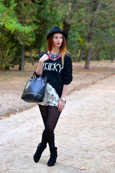 black Stradivarius boots - Zara shorts - black BLANCO jumper