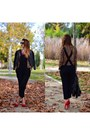 Red-bershka-shoes-black-h-m-jacket-black-zara-pants