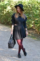 black Zara hat - black Burberry bag - black Zara top - black H&M skirt
