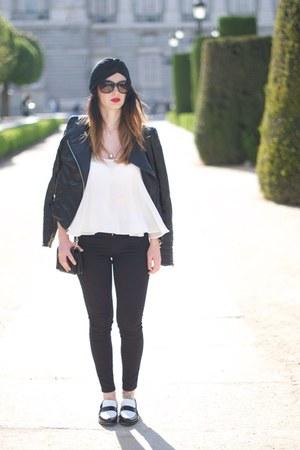 black shoes - black H&M jeans - black jacket - Zara blouse