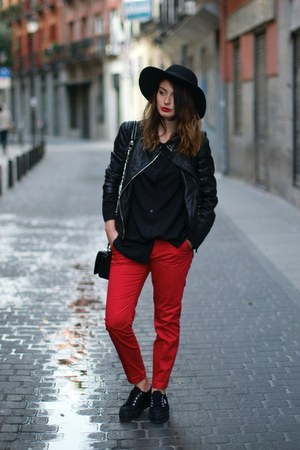 black Zara jacket - red Mango pants