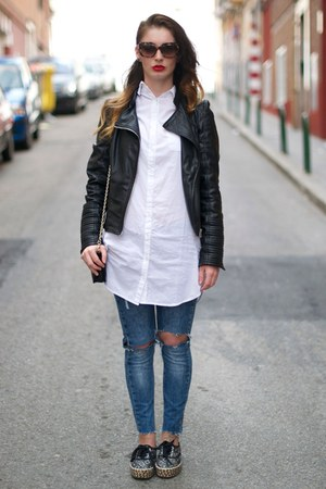 black Zara jacket - blue Zara jeans