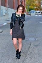 gray H&M dress - black Zara boots - black H&M jacket