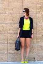 black H&M blazer - yellow Pimkie shoes - Primark bag - black BLANCO shorts
