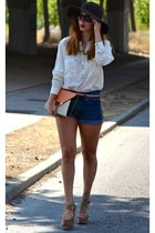 blue jeans Primark shorts - brown BLANCO hat - white BLANCO shirt