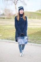 blue H&M jumper - silver Zara shoes