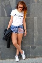 blue Primark shorts - black Zara jacket - white Ebay t-shirt