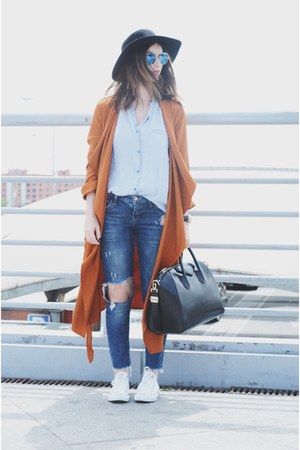 orange Zara coat - BLANCO jeans - white Zara shirt - blue zeroUV sunglasses