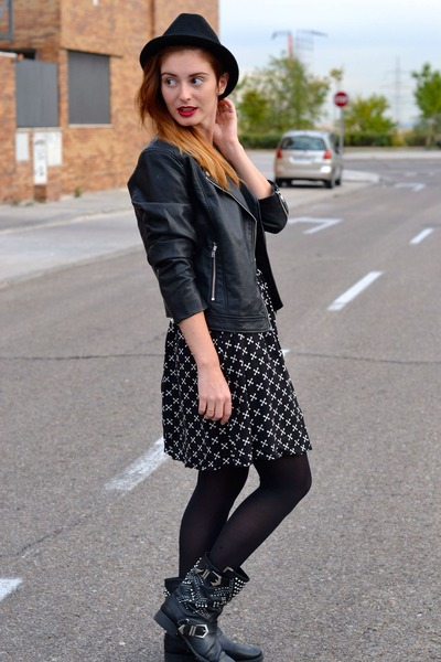 black Zara boots - black H&M dress - black H&M jacket