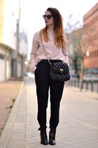 black Zara pants - light pink H&M shirt