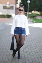 black Zara shoes - blue Levis shorts - white Zara top