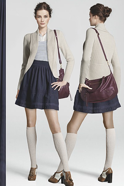white H&M blouse - navy H&M dress - brown H&M bag - off white H&M socks
