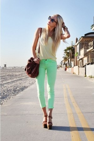 mint pants - beige blouse