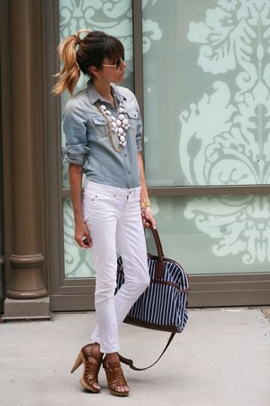 denim shirt - white jeans