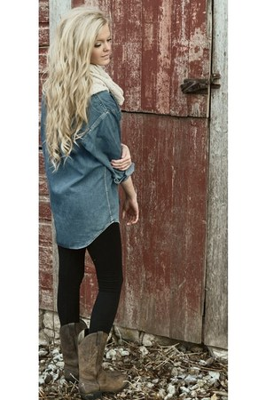 denim shirt - cowboy boots - black leggings