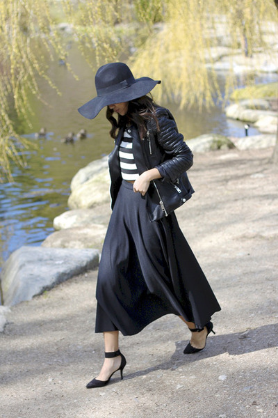 black wide brim H&M hat - black faux leather Zara jacket
