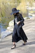 black wide brim H&M hat - black faux leather Zara jacket