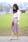 Pink-h-m-sweater-small-forever-21-bag-plaid-wool-pendleton-skirt