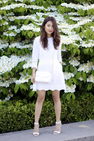 white white Dolce Vita dress - white crossbody Forever 21 bag