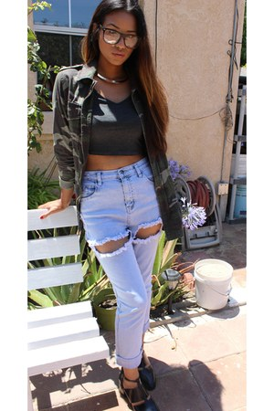 distressed Forever 21 jeans - crop top Forever 21 blouse