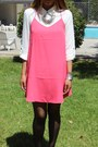 Pink-forever-21-dress-leather-strap-zara-heels