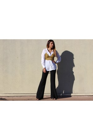 lace Missguided top - flare Forever 21 pants