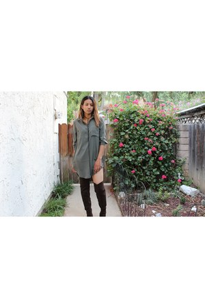 thigh high H&M boots - button down Forever 21 dress