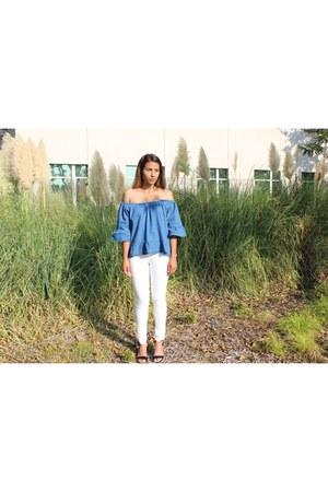 denim top Boohoo blouse - white Forever 21 jeans