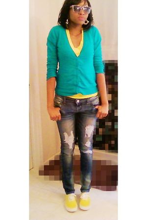 blue Wet Seal cardigan - yellow Vans shoes - Ross jeans - yellow Wet Seal shirt