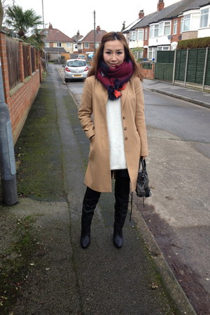 Zara scarf - H&M boots - French Connection coat