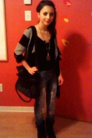 black Bongo Jeans jeans - black Steve Madden boots - black KBG Collection bag