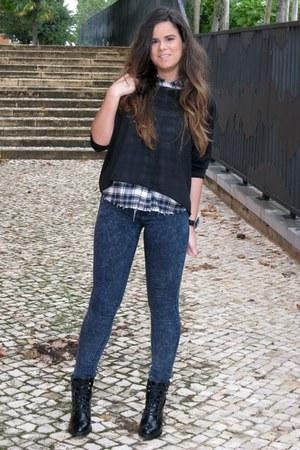chicnova sweater - Zara boots - Zara jeans - chicnova shirt