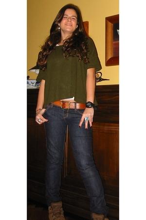 green Zara t-shirt - Bershka belt - Stradivarius jeans