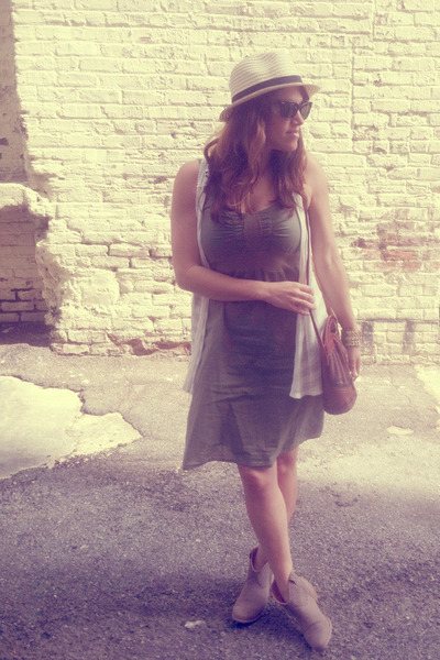army green Ross dress - gray flat Mossimo boots - fedora Fedora hat