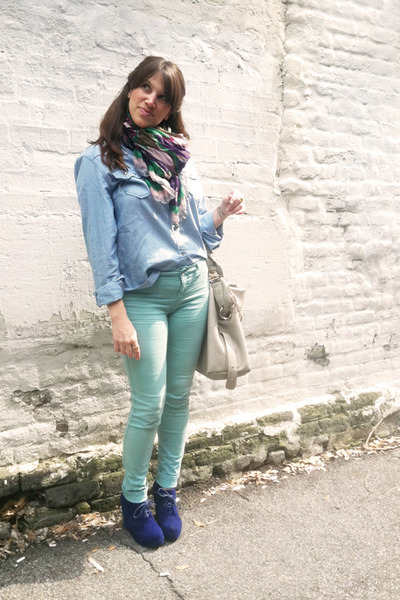 blue necessary clothing wedges - mutlicolor david & young scarf