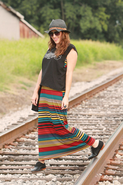 striped Ross dress - black oxfords TJ Maxx flats