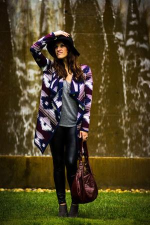 aztec Forever 21 cardigan - black felt Target hat - pleather modcloth leggings