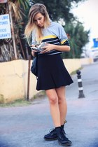 black Dr Martens boots - black Zara skirt - heather gray top