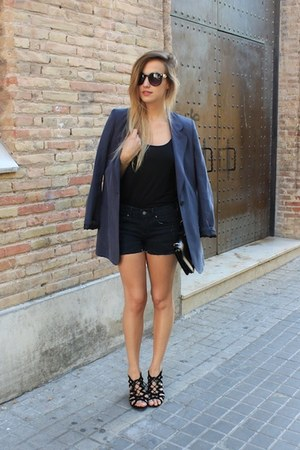 black OASAP bag - navy Mango blazer - black Levis shorts