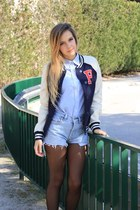 navy Primark jacket - light blue levis vintage shorts