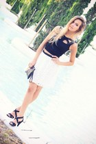 black OASAP top - white Sugarlips skirt - black Zara sandals