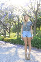 tan Zara bag - light blue levis vintage shorts - tan Zara heels