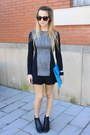 Black-h-m-dress-sky-blue-asos-bag-silver-nixon-watch