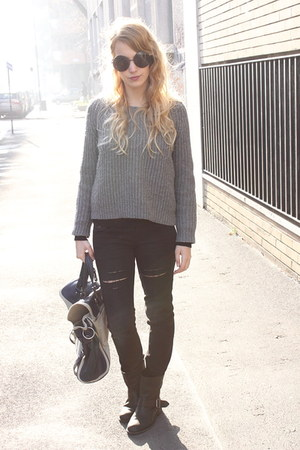 heather gray Zara sweater - black Zara boots - black Mango jeans
