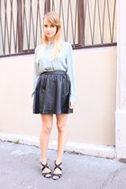 black H&M skirt - teal Mango shirt - black Zara sandals