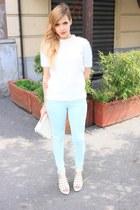 white Zara sweater - ivory Zara bag - ivory Spartoo heels
