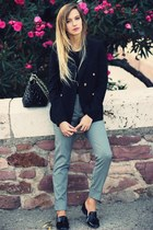 black Mango blazer - charcoal gray Mango pants