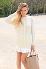 Ivory-mango-sweater-silver-tous-ring-white-zara-skirt