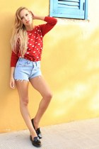 red storets sweater - black Zara shoes - light blue Levis shorts